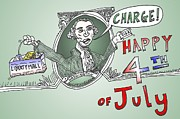 Independence Day Mixed Media - GW Charge the 4th of July by OptionsClick BlogArt