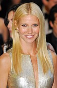Gold Earrings Acrylic Prints - Gwyneth Paltrow Wearing Louis Vuitton Acrylic Print by Everett