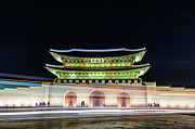 Light Trail Framed Prints - Gyeongbokgung Palace At Night Framed Print by I enjoy taking photos and traveling the world.
