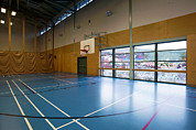 Basketball Sports Prints - Gym With Basketball Court At A Sports Print by Marlene Ford