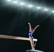 World Series Prints - Gymnast Competing On Balance Beam Print by Robert Decelis Ltd