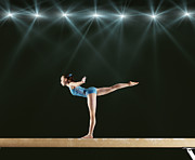 World Series Prints - Gymnast Performing Routine On Balance Beam Print by Robert Decelis Ltd