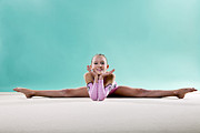 Color Stretching Posters - Gymnast, Smiling, Side Split, Head On Hands Poster by Emma Innocenti