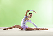 Rhythmic Posters - Gymnast, Split Floor Looking Back, Purple Leotard Poster by Emma Innocenti