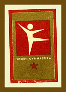 Gymnastics Framed Prints - Gymnastics Matchbox Label Framed Print by Carol Leigh