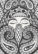 Madonna Drawings Prints - Gypsy Print by Amy S Turner