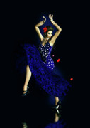 Blue Dress Posters - Gypsy Blue Poster by Shanina Conway