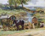 English Horse Prints - Gypsy Encampment Print by John Atkinson