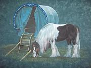 Wagon Pastels Framed Prints - Gypsy Horse and Wagon Framed Print by Gail Finger