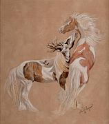 Gypsy Pastels Prints - Gypsy Horses at Play Print by Gail Finger