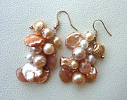 Peach Colored Originals - Gypsy Rose Moon Set - Earrings by Marta Eagle