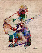 Acoustic Guitar Digital Art Metal Prints - Gypsy Serenade Metal Print by Nikki Marie Smith
