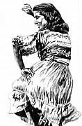 Gypsy Drawings Prints - Gypsy woman Print by Toon De Zwart
