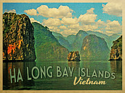 Vietnam Digital Art Framed Prints - Ha Long Bay Islands Vietnam Framed Print by Vintage Poster Designs