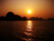 Multi-coloured Metal Prints - Ha Long Bay Sunset Metal Print by Oliver Johnston