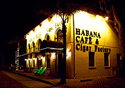 Night Cafe Framed Prints - Habana Cafe and Cigar Factory Framed Print by Ginny Schmidt