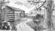 Log Cabin Drawings Prints - Habitat Print by Nils Beasley