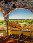 Casa Painting Originals - Hacienda Playa Blanca by Christie Michael