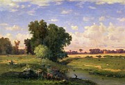 Perspective Paintings - Hackensack Meadows - Sunset by George Snr Inness