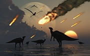 Destiny Prints - Hadrosaurs Graze Peacefully As Burning Print by Mark Stevenson