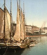 Docked Sailboats Posters - Hafenstrasse of Copenhagen Poster by Padre Art