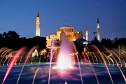World Wonder Posters - Hagia Sophia at Night Poster by Artur Bogacki