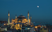 Moon Framed Prints - Hagia Sophia Museum Framed Print by Ayhan Altun