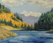 Shimmering Paintings - Hahns Peak Lake Fall Steamboat Springs Colorado by Zanobia Shalks