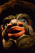 Ancient Indian Art Metal Prints - Haida Carved Wooden mask 2 Metal Print by Bob Christopher