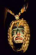 Ancient Indian Art Metal Prints - Haida Carved Wooden mask 4 Metal Print by Bob Christopher