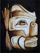 First Pyrography Prints - Haida Mask Print by Cynthia Adams
