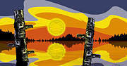 Native Art Digital Art - Haida Sunset by Christopher Williams