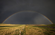 Thunderstorm Framed Prints - Hail Storm and Rainbow Framed Print by Mark Duffy