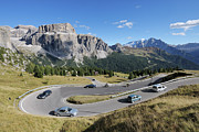 Road Travel Framed Prints - Hairpin Turn, Sella Pass And Mountains, South Tyrol, Trentino-alto Adige, Dolomites, Italy Framed Print by Martin Ruegner