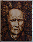 Portrait Pyrography Framed Prints - Hairy Dirty Framed Print by Chris Wulff