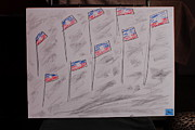 Haiti Drawings - Haiti Flags Proudly Blowing by Michael Vincent Whitemiller