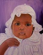 Haitian Paintings - Haitian Baby Orphan by Quwatha Valentine