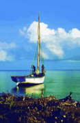Haitian Paintings - Haitian Cane Boat by Diane E Berry