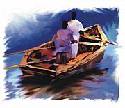 Row Boat Digital Art Prints - Haitian Fishermen Print by Bob Salo