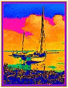Haitian Painting Framed Prints - Haitian Fishing Boats Framed Print by Diane E Berry