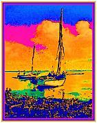Haitian Fishing Boats Print by Diane E Berry