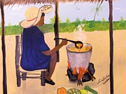 Nicole Jean-louis Paintings - Haitian Pumpkin Soup by Nicole Jean-Louis
