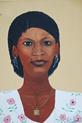 Nicole Jean-louis Framed Prints - Haitian Woman Portrait Framed Print by Nicole Jean-Louis