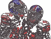 Player Drawings Posters - Hakeem Nicks and Ahmad Bradshaw Poster by Jeremiah Colley