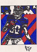 Player Drawings Posters - Hakeem Nicks TD Celebration Poster by Jeremiah Colley