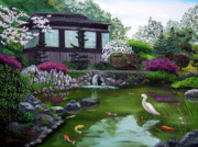 Snowy Egret Originals - Hakone Gardens Pond in the Spring by Laura Iverson