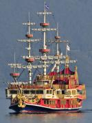 Pirate Ship Art - Hakone Sightseeing Cruise ship sailing on Lake Ashi Hakone Japan by Andy Smy