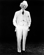 White Suit Framed Prints - Hal Holbrook As Mark Twain In An Framed Print by Everett