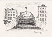 Bridge Drawings - Hal penny Bridge Dublin by Eamon Gilbert