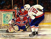 Hockey In Montreal Painting Framed Prints - Halak Blocks Backstrom In Stanley Cup Playoffs 2010 Framed Print by Carole Spandau